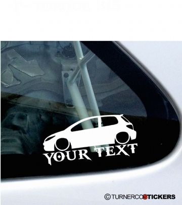 2x Custom YOUR TEXT Lowered car stickers -  Peugeot 307 HDi / 16v 180 3-Door